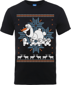 Disney Frozen Olaf And Snowmen Men's Black T-Shirt