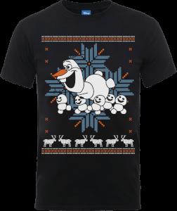 Disney Frozen Olaf And Snowmen Men's Black T-Shirt