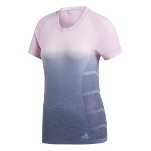 adidas Women's Ultra Wool Running T-Shirt - Pink/Indigo