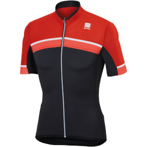 Sportful Pista Jersey - Anthracite/Red/Fire Red - White