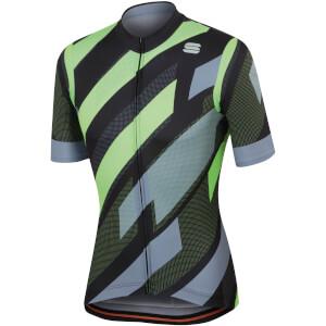 Sportful Volt Jersey - Black/Green Fluo/Tradewinds