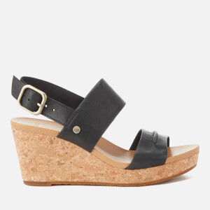 UGG Women's Elena II Double Strap Wedged Sandals - Black