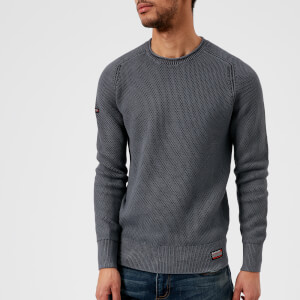 Superdry Men's Garment Dye L.A. Textured Crew Top - Washed Carbon Grey