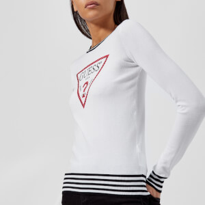 Guess Women's Ester Sweater - White/Black Stripes