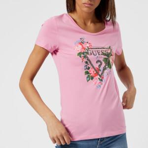 Guess Women's Roses T-Shirt - Secret Pink