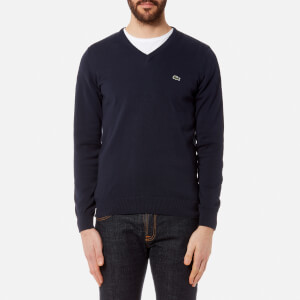 Lacoste Men's V-Neck Knitted Jumper - Navy Blue