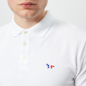 Maison Kitsuné Men's Tricolor Fox Patch Polo Shirt - White: Image 4