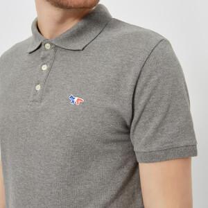 Maison Kitsuné Men's Tricolor Fox Patch Polo Shirt - Grey Melange: Image 4