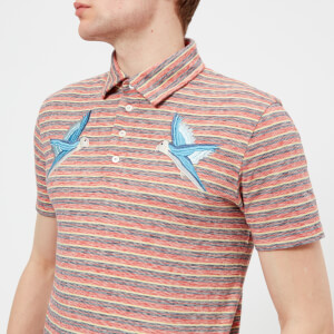 Maison Kitsuné Men's Surf Stripe Polo Shirt - Red Stripes