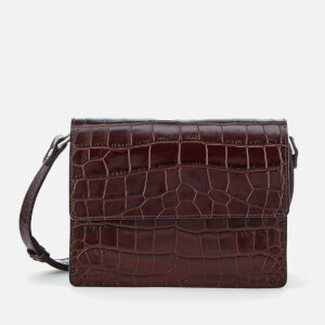 Ganni Women's Gallery Croc Cross Body Bag - Chocolate Fondant