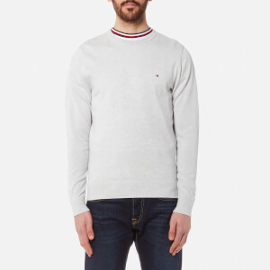 Tommy Hilfiger Men's Plaited Cotton/Silk Crew Neck Knit Jumper - Artic Ice Heather