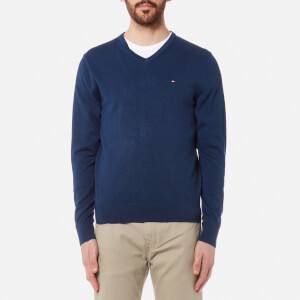 Tommy Hilfiger Men's Plaited Cotton/Silk V-Neck Knit Sweater - Estate Blue Heather