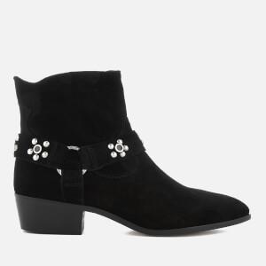 Rebecca Minkoff Women's Stella Studs Suede Heeled Ankle Boots - Black