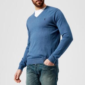 Polo Ralph Lauren Men's Pima V-Neck Knitted Jumper - Haven Blue Heather