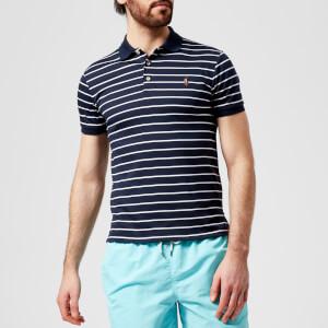 Polo Ralph Lauren Men's Slim Fit Stripe Pima Polo Shirt - French Navy/White