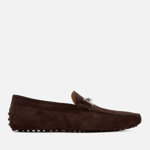 Tod's Men's Suede Gommino Double T Driving Shoes - Dark Brown