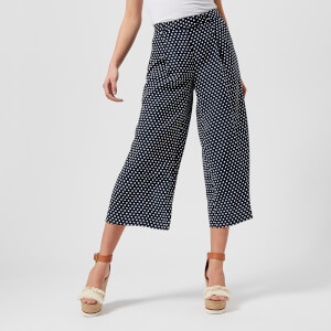 MICHAEL MICHAEL KORS Women's Wide Leg Crop Pants - True Navy/White