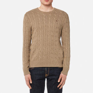 Polo Ralph Lauren Men's Cable Knitted Long Sleeve Jumper - Honey Brown Heather