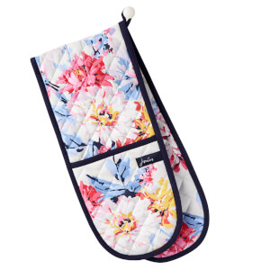 Joules Dorrit Double Oven Glove - Grey Whitstable Floral