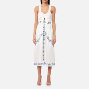 Foxiedox Women's Spellgirl Embroidery Midi Dress - White/Blue