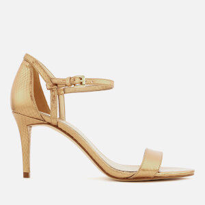 MICHAEL MICHAEL KORS Women's Simone Shiny Metallic Snake Barely There Heeled Sandals - Antique Gold
