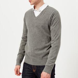 Michael Kors Men's Sleek Cotton Emb. Mk V Neck Long Sleeve Sweater - Ash Melange