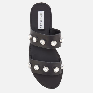 Steve Madden Women's Jessy Leather Double Strap Sandals - Black: Image 3