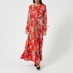 Diane von Furstenberg Women's Bethany Cinch Sleeve Maxi Dress - Avalon Poppy