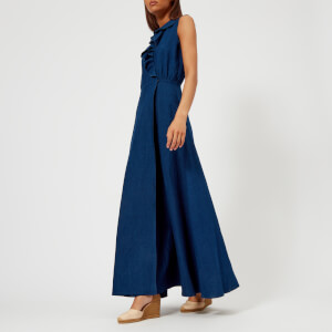 A.P.C. Women's Ingrid Denim Maxi Dress with Frill Detail - Indigo