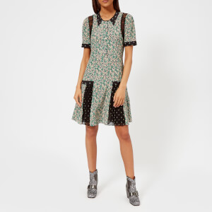Coach 1941 Women's Prairie Blossom Print Pleated Dress - Green/Grey