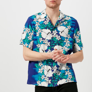 Dsquared2 Men's Ibisco Printed Viscose Short Sleeve Shirt - Blue/White Flower