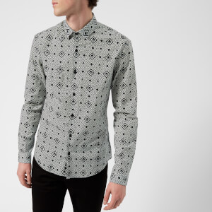 Versace Collection Men's Patterned Long Sleeve Shirt - Bianco Nero