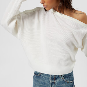 T by Alexander Wang Women's Snap Detail Off The Shoulder Crop Sweater - Ivory
