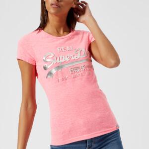 Superdry Women's Vintage Logo Embossed Foil T-Shirt - Fluro Pink Snowy