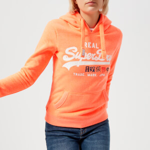 Superdry Women's Vantage Logo Foil Pop Entry Hoody - Fluro Coral Snowy