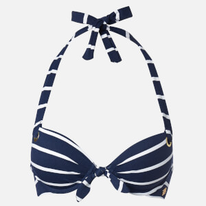Superdry Women's Picot Textured Cup Bikini Top - Nautical Stripe