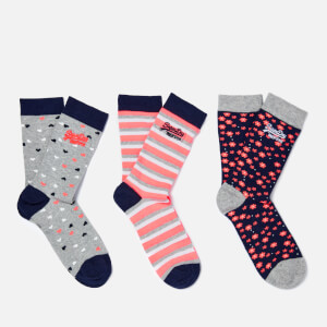 Superdry Women's Floral Heart Sock Triple Pack - Navy/Grey/Coral
