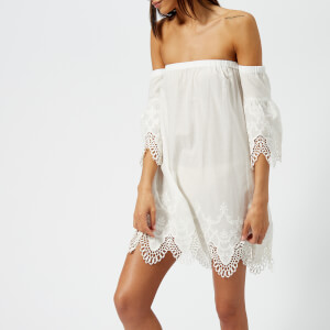 MINKPINK Women's Charlotte Broderie Off the Shoulder Dress - White