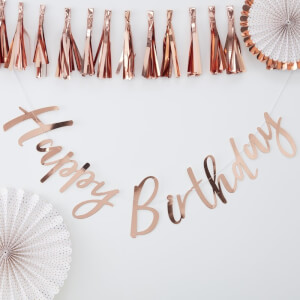 Ginger Ray Happy Birthday Bunting Backdrop - Rose Gold