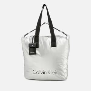 Calvin Klein Women's City Nylon Shopper Bag - Light Silver