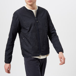 Folk Men's Collarless Nylon Jacket - Navy
