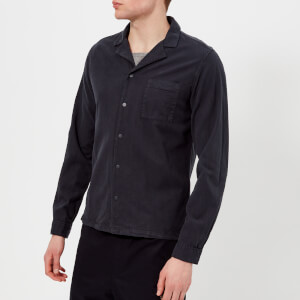 Folk Men's Long Sleeve Soft Collar Shirt - Washed Navy