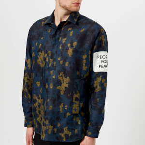 OAMC Men's 68 People for Peace Camo Shirt - Midnight Blue Camo Print