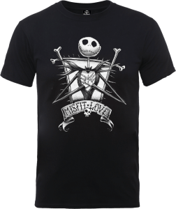 Disney The Nightmare Before Christmas Jack Skellington Misfit Love Black T-Shirt