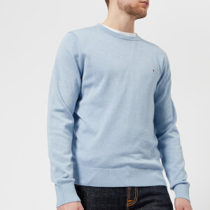 Tommy Hilfiger Men's Cotton Silk Crew Neck Knitted Jumper - Serenity Heather