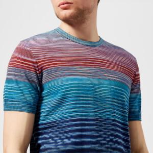 Missoni Men's Classic Multi Stripe T-Shirt - Blue