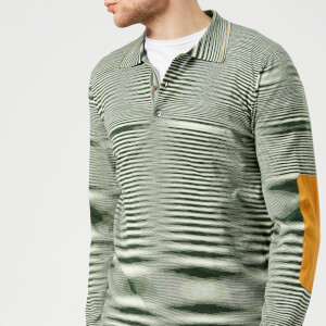 Missoni Men's Long Sleeve Contrast Elbow Polo Shirt - Green