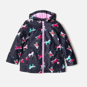 Joules Girls' Raindance Waterproof Coat - French Navy Sea Pony