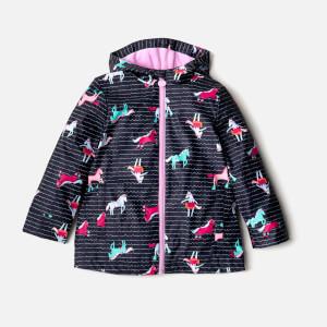 Joules Girls' Raindance Waterproof Coat - French Navy Sea Pony