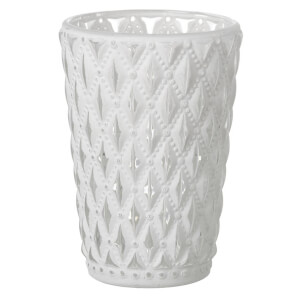 Parlane Lattice Glass Tealight Holder - White from I Want One Of Those